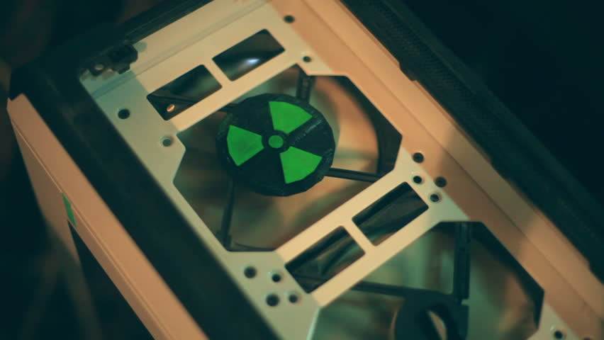 Nuclear testing equipment, cooling fans with a radioactive symbol.