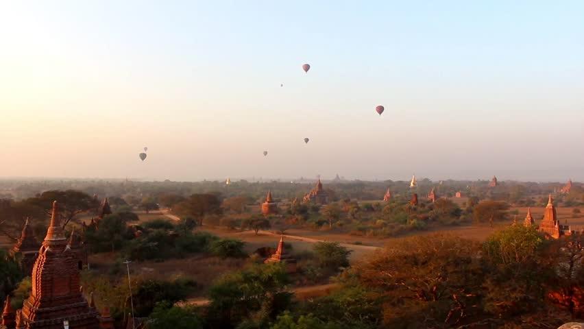 Hot Air Balloons in the air at Sunrise over Bagan, Myanmar (Burma). Beautiful scenery over Bagan's temples 1